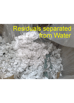 Residuals separated from Water by Centrifugal Separating Machine
