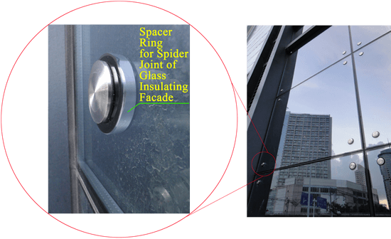 Spacer Ring Fits Perfectly inside Holes of IG Units for Spider Connection Facade Design